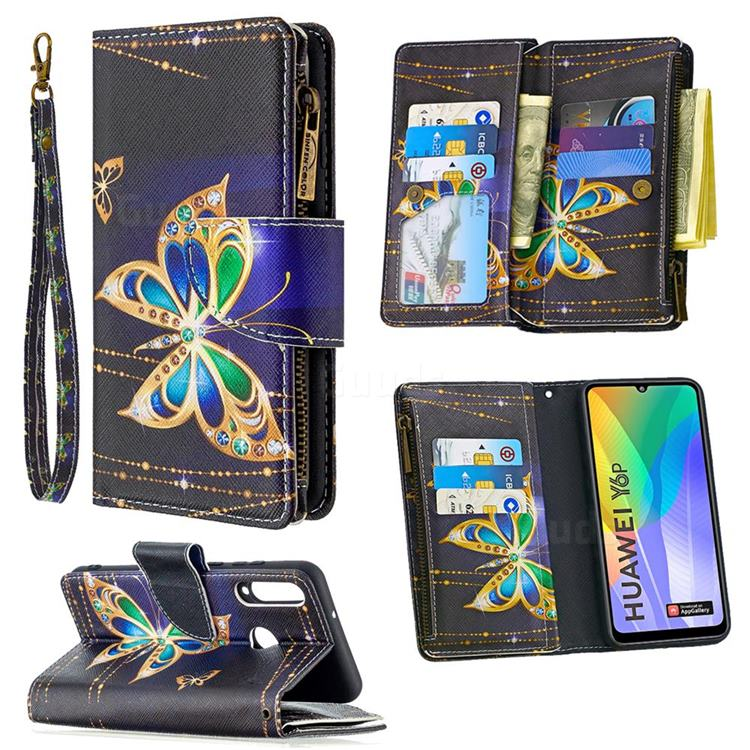 Golden Shining Butterfly Binfen Color BF03 Retro Zipper Leather Wallet Phone Case for Huawei Y6p