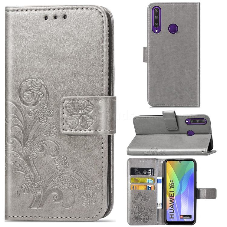 Embossing Imprint Four-Leaf Clover Leather Wallet Case for Huawei Y6p - Grey