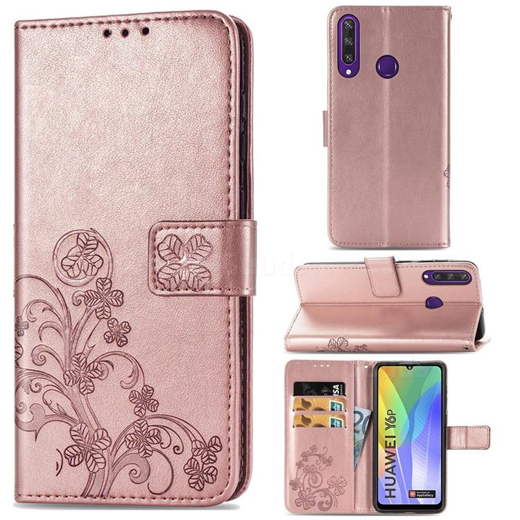 Embossing Imprint Four-Leaf Clover Leather Wallet Case for Huawei Y6p - Rose Gold