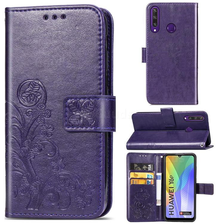 Embossing Imprint Four-Leaf Clover Leather Wallet Case for Huawei Y6p - Purple