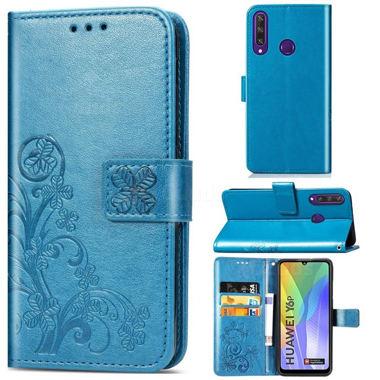 Embossing Imprint Four-Leaf Clover Leather Wallet Case for Huawei Y6p - Blue