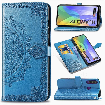 Embossing Imprint Mandala Flower Leather Wallet Case for Huawei Y6p - Blue