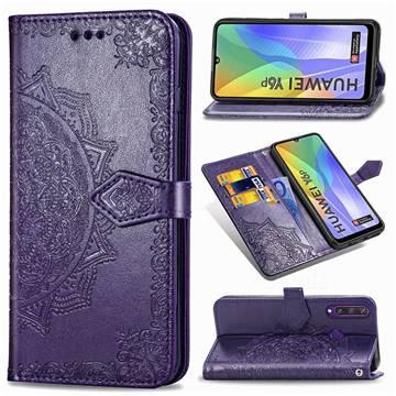 Embossing Imprint Mandala Flower Leather Wallet Case for Huawei Y6p - Purple