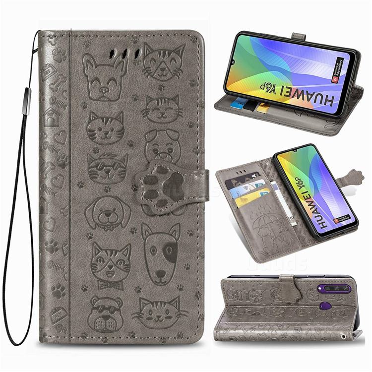 Embossing Dog Paw Kitten and Puppy Leather Wallet Case for Huawei Y6p - Gray