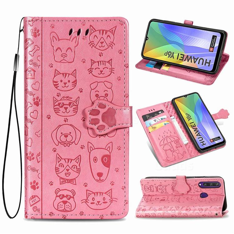 Embossing Dog Paw Kitten and Puppy Leather Wallet Case for Huawei Y6p - Pink