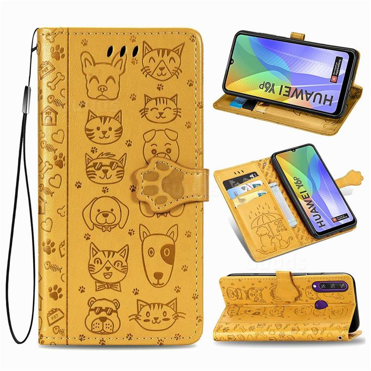 Embossing Dog Paw Kitten and Puppy Leather Wallet Case for Huawei Y6p - Yellow