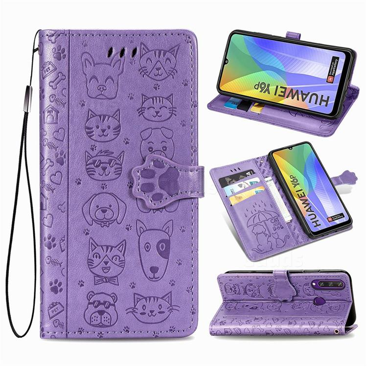 Embossing Dog Paw Kitten and Puppy Leather Wallet Case for Huawei Y6p - Purple