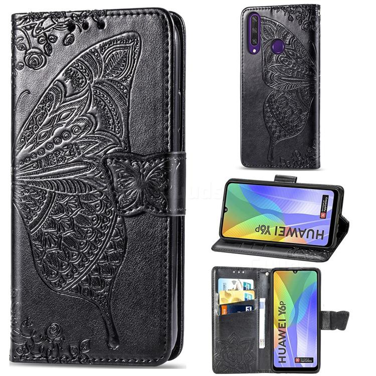 Embossing Mandala Flower Butterfly Leather Wallet Case for Huawei Y6p - Black