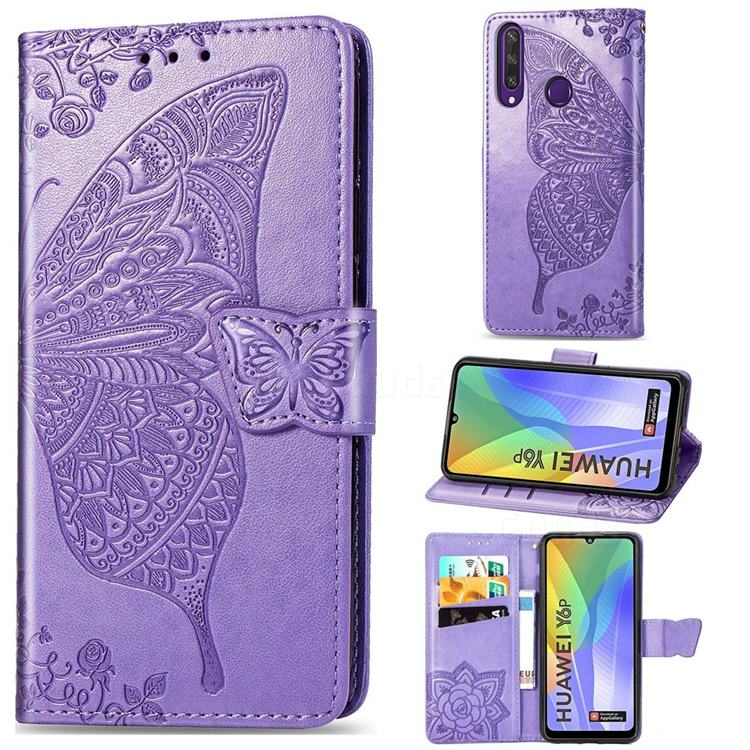 Embossing Mandala Flower Butterfly Leather Wallet Case for Huawei Y6p - Light Purple