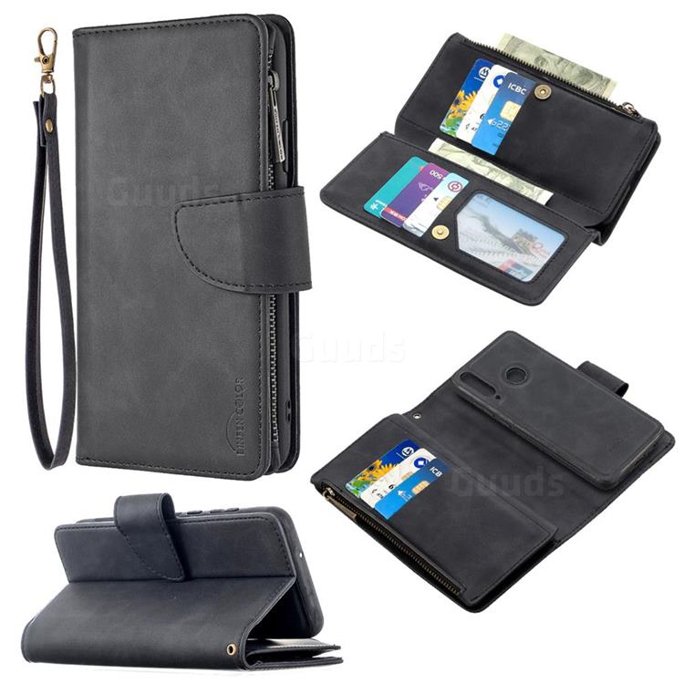 Binfen Color BF02 Sensory Buckle Zipper Multifunction Leather Phone Wallet for Huawei Y6p - Black