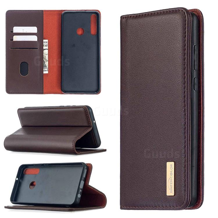 Binfen Color BF06 Luxury Classic Genuine Leather Detachable Magnet Holster Cover for Huawei Y6p - Dark Brown