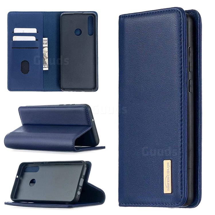 Binfen Color BF06 Luxury Classic Genuine Leather Detachable Magnet Holster Cover for Huawei Y6p - Blue