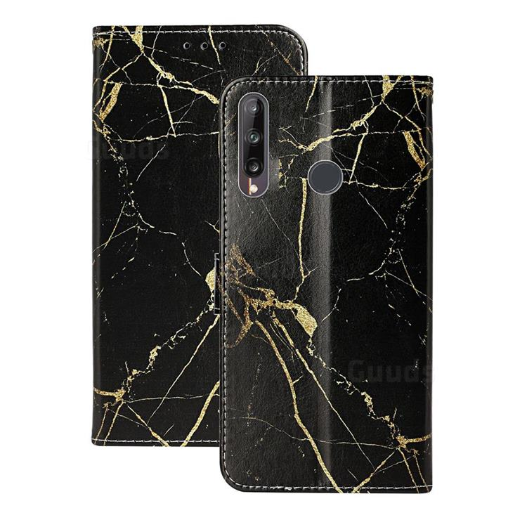 Black Gold Marble PU Leather Wallet Case for Huawei Y6p