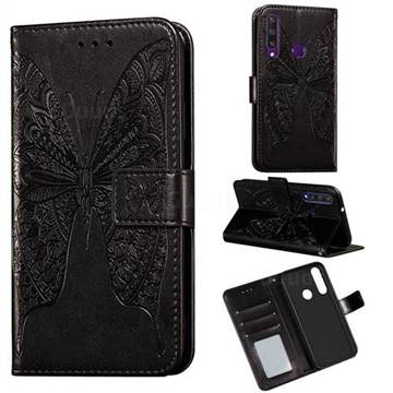 Intricate Embossing Vivid Butterfly Leather Wallet Case for Huawei Y6p - Black