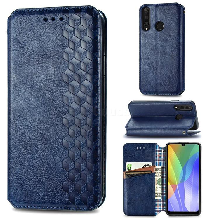 Ultra Slim Fashion Business Card Magnetic Automatic Suction Leather Flip Cover for Huawei Y6p - Dark Blue