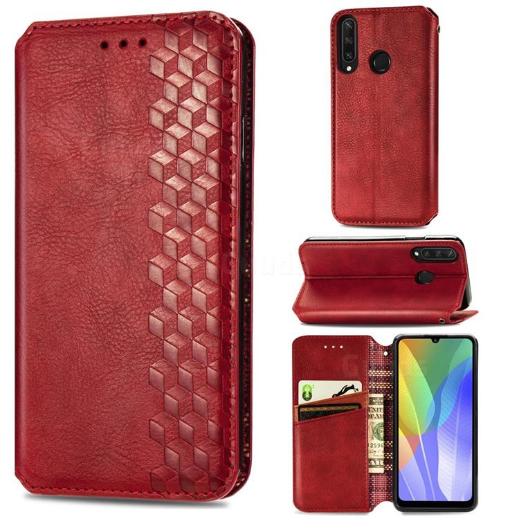 Ultra Slim Fashion Business Card Magnetic Automatic Suction Leather Flip Cover for Huawei Y6p - Red