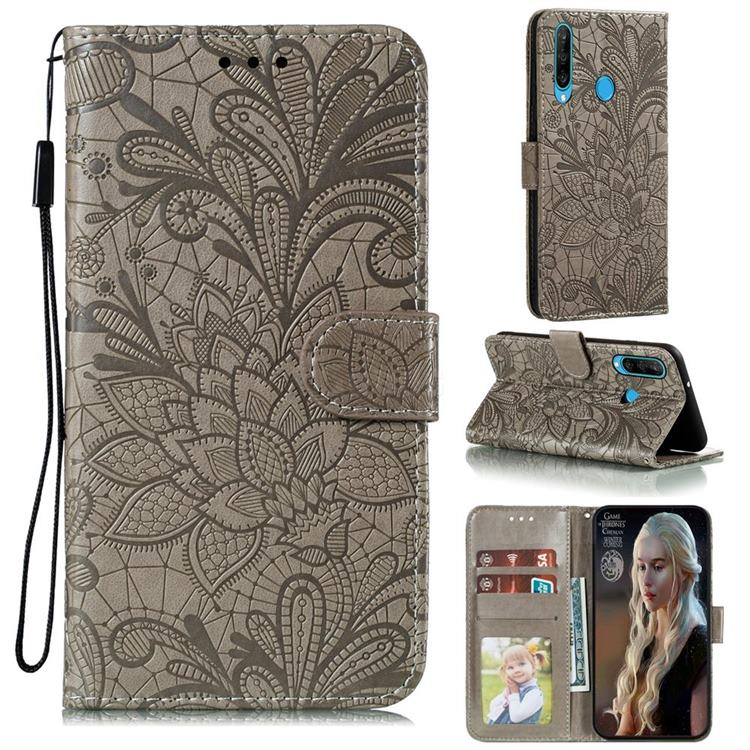 Intricate Embossing Lace Jasmine Flower Leather Wallet Case for Huawei Y6p - Gray