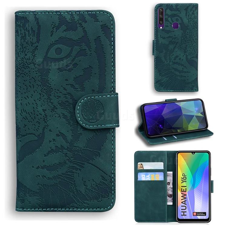 Intricate Embossing Tiger Face Leather Wallet Case for Huawei Y6p - Green