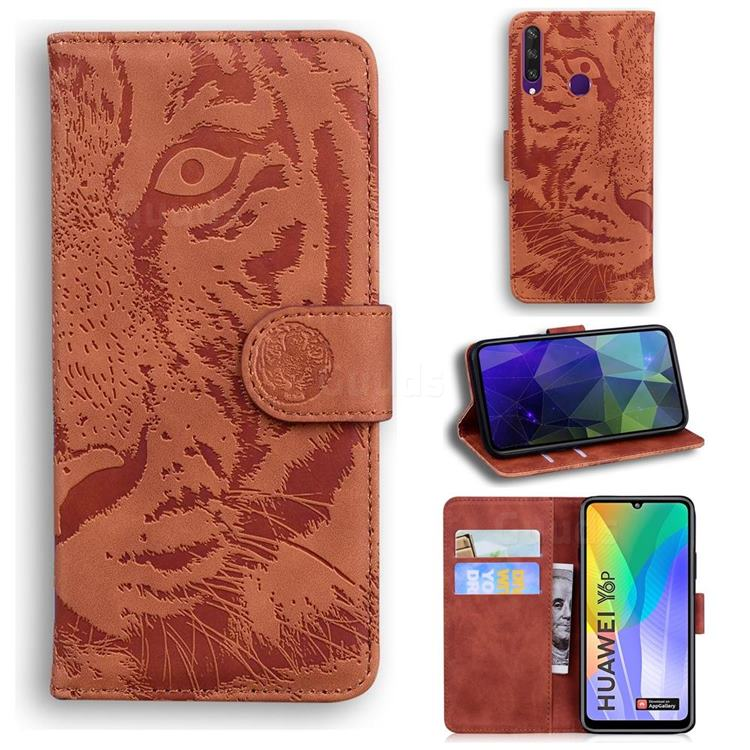 Intricate Embossing Tiger Face Leather Wallet Case for Huawei Y6p - Brown