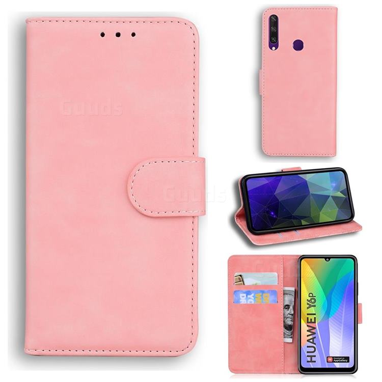 Retro Classic Skin Feel Leather Wallet Phone Case for Huawei Y6p - Pink
