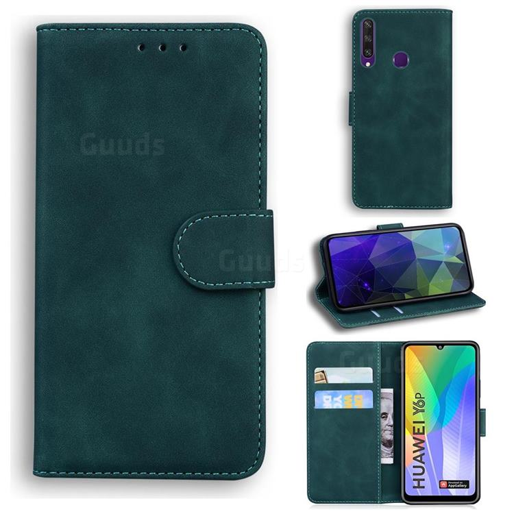 Retro Classic Skin Feel Leather Wallet Phone Case for Huawei Y6p - Green