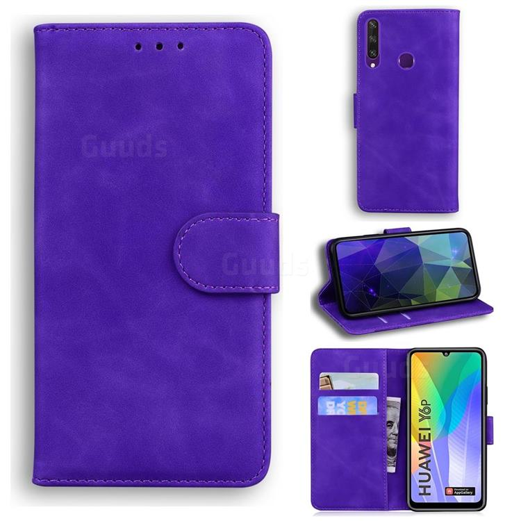 Retro Classic Skin Feel Leather Wallet Phone Case for Huawei Y6p - Purple