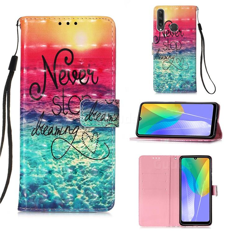 Colorful Dream Catcher 3D Painted Leather Wallet Case for Huawei Y6p