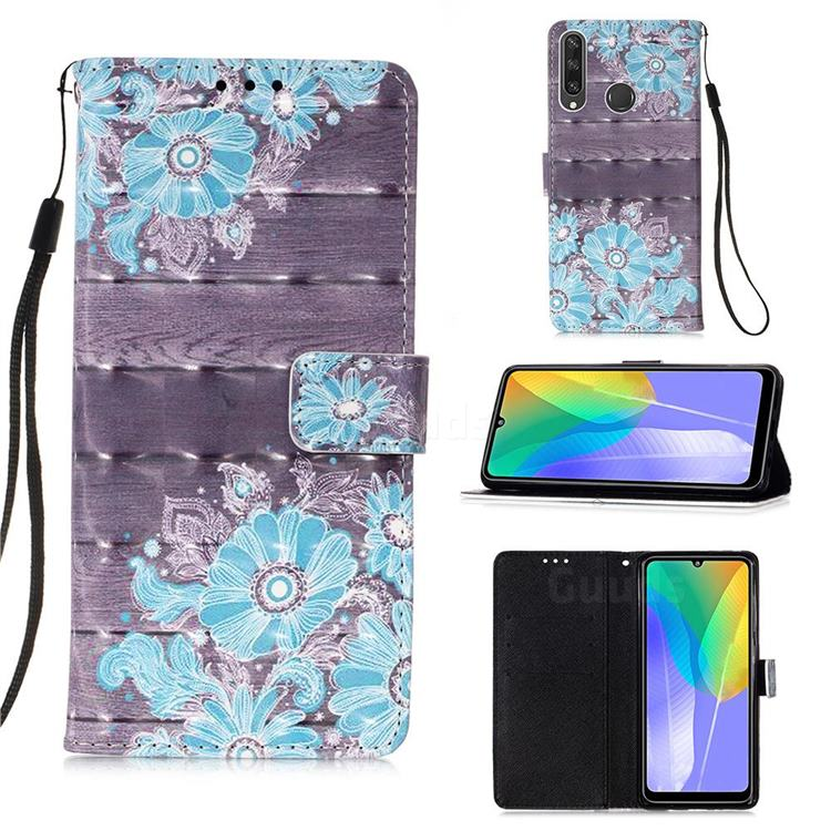 Blue Flower 3D Painted Leather Wallet Case for Huawei Y6p