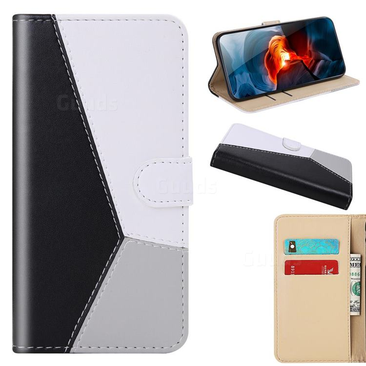 Tricolour Stitching Wallet Flip Cover for Huawei Y6p - Black