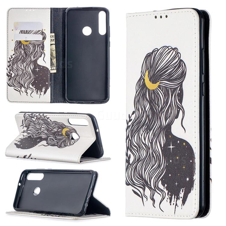 Girl with Long Hair Slim Magnetic Attraction Wallet Flip Cover for Huawei Y6p