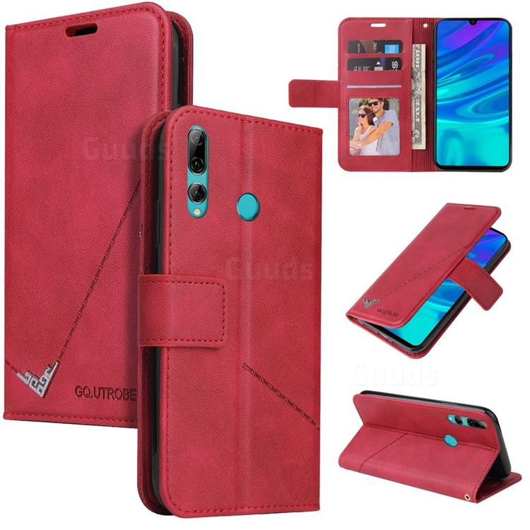 GQ.UTROBE Right Angle Silver Pendant Leather Wallet Phone Case for Huawei Y6p - Red