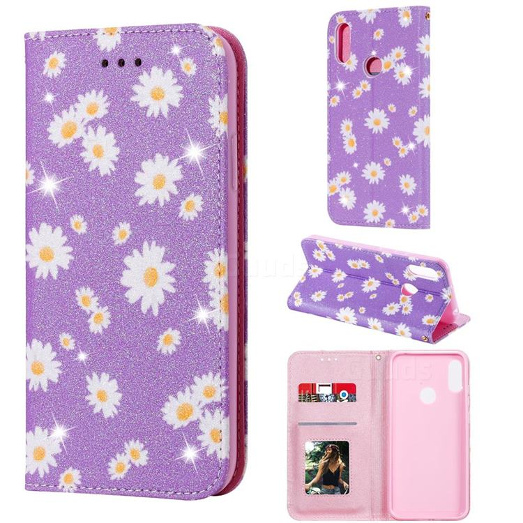 Ultra Slim Daisy Sparkle Glitter Powder Magnetic Leather Wallet Case for Huawei Y6s (2019) - Purple