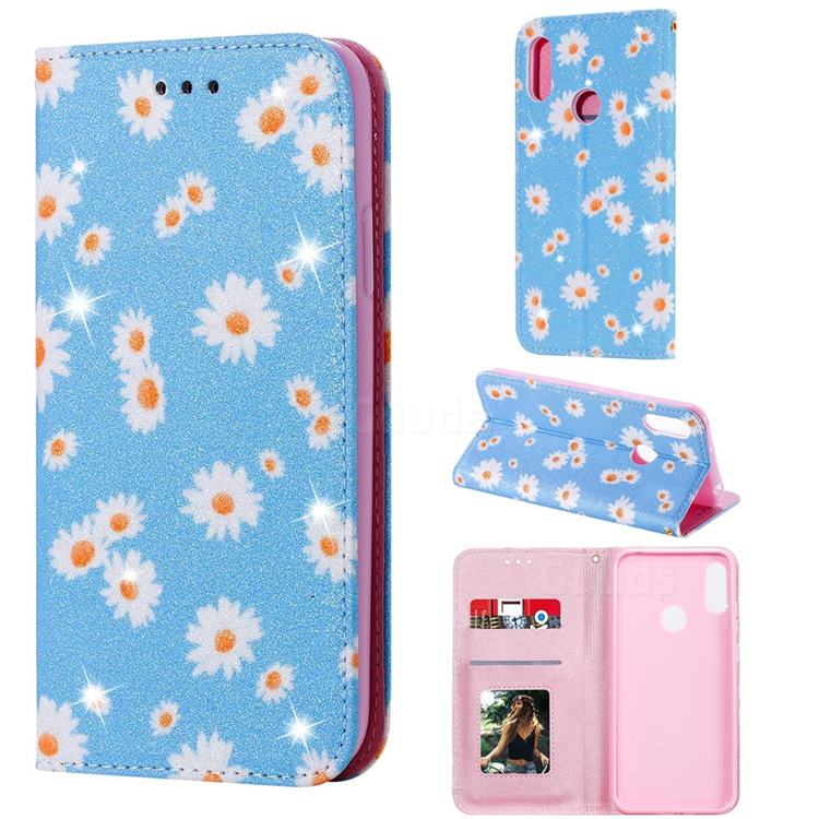 Ultra Slim Daisy Sparkle Glitter Powder Magnetic Leather Wallet Case for Huawei Y6s (2019) - Blue