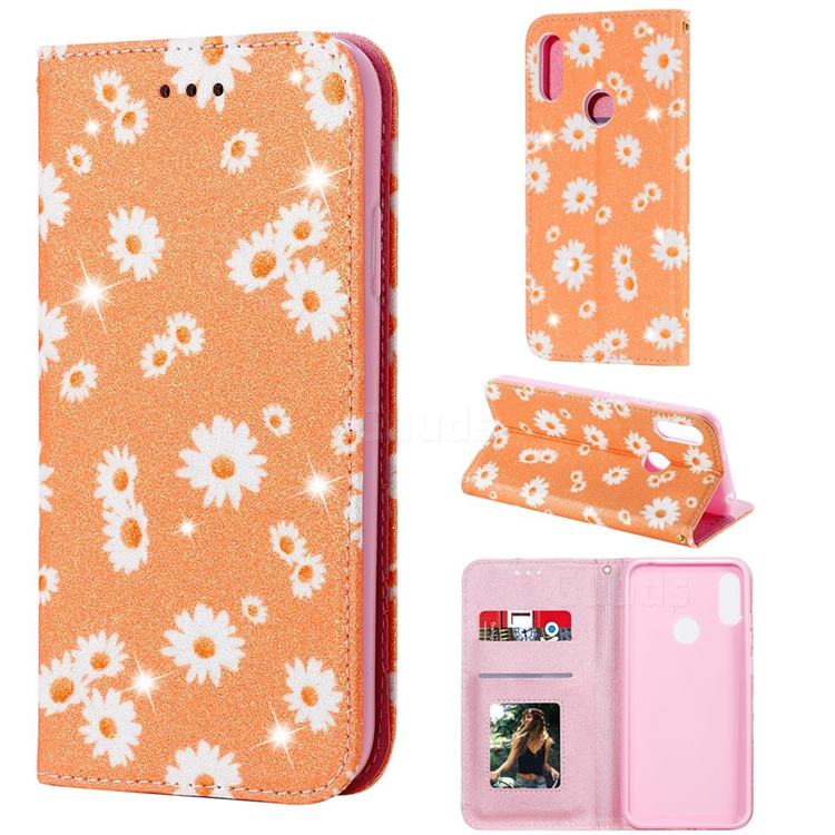 Ultra Slim Daisy Sparkle Glitter Powder Magnetic Leather Wallet Case for Huawei Y6s (2019) - Orange