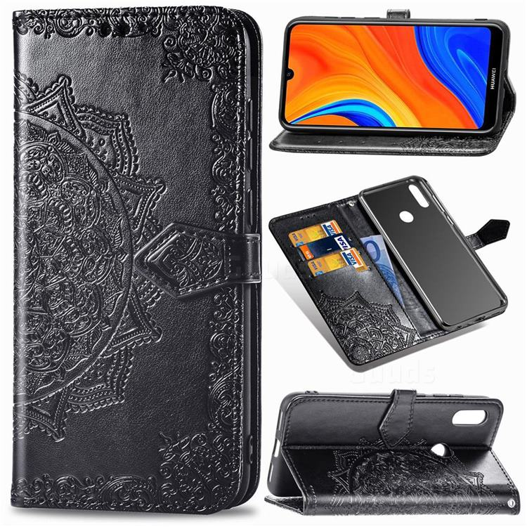 Embossing Imprint Mandala Flower Leather Wallet Case for Huawei Y6s (2019) - Black