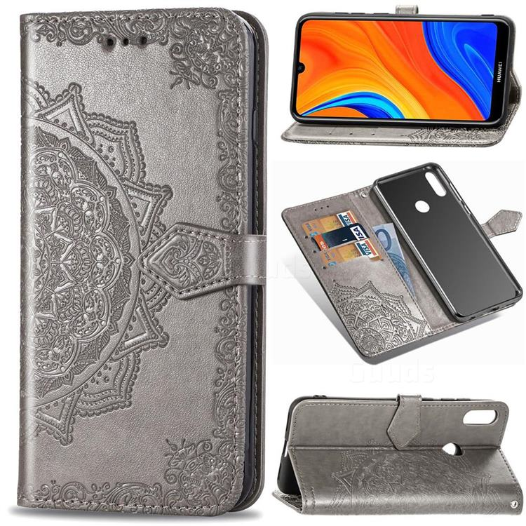Embossing Imprint Mandala Flower Leather Wallet Case for Huawei Y6s (2019) - Gray