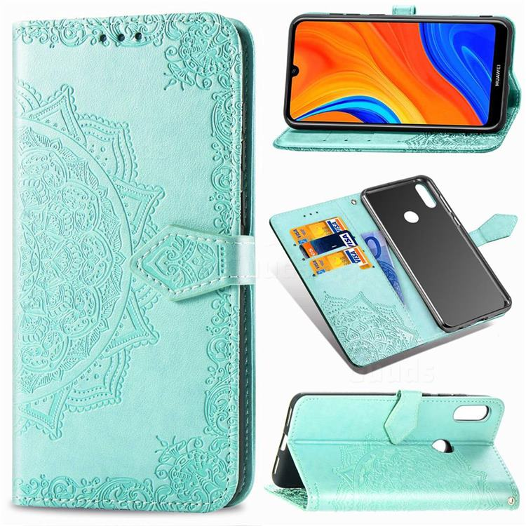 Embossing Imprint Mandala Flower Leather Wallet Case for Huawei Y6s (2019) - Green