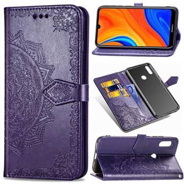 Embossing Imprint Mandala Flower Leather Wallet Case for Huawei Y6s (2019) - Purple