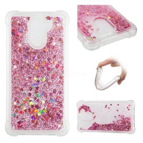 Dynamic Liquid Glitter Sand Quicksand Star TPU Case for Huawei Y7 - Diamond Rose