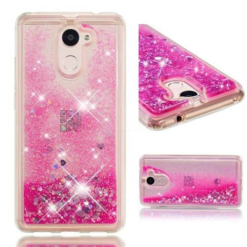 Dynamic Liquid Glitter Quicksand Sequins TPU Phone Case for Huawei Y7(2017) - Rose