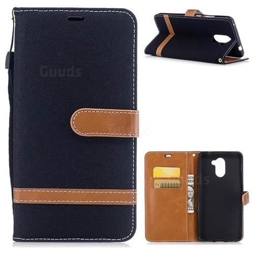 Jeans Cowboy Denim Leather Wallet Case for Huawei Y7 - Black