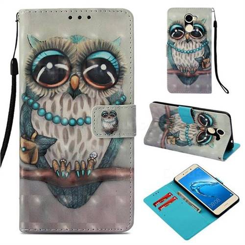 Sweet Gray Owl 3D Painted Leather Wallet Case for Huawei Y7