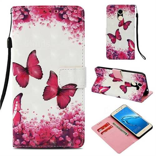 Rose Butterfly 3D Painted Leather Wallet Case for Huawei Y7