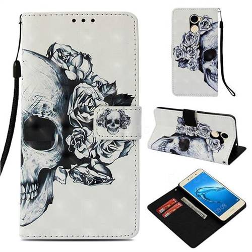 Skull Flower 3D Painted Leather Wallet Case for Huawei Y7