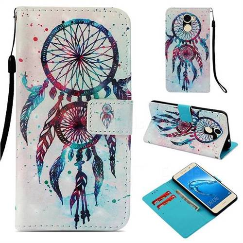 ColorDrops Wind Chimes 3D Painted Leather Wallet Case for Huawei Y7