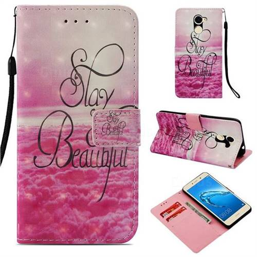 Beautiful 3D Painted Leather Wallet Case for Huawei Y7