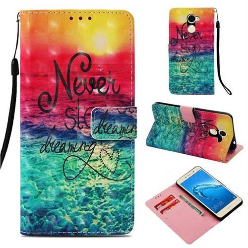 Colorful Dream Catcher 3D Painted Leather Wallet Case for Huawei Y7(2017)