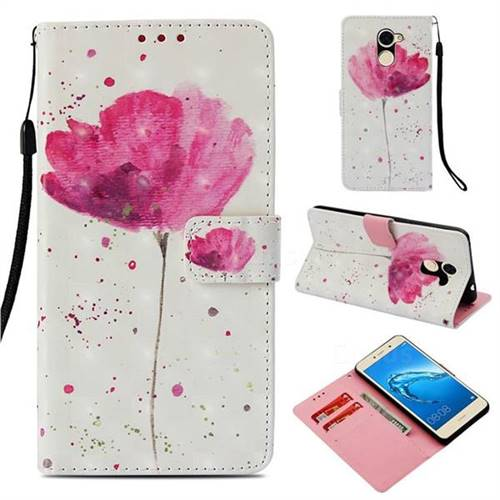 Watercolor 3D Painted Leather Wallet Case for Huawei Y7
