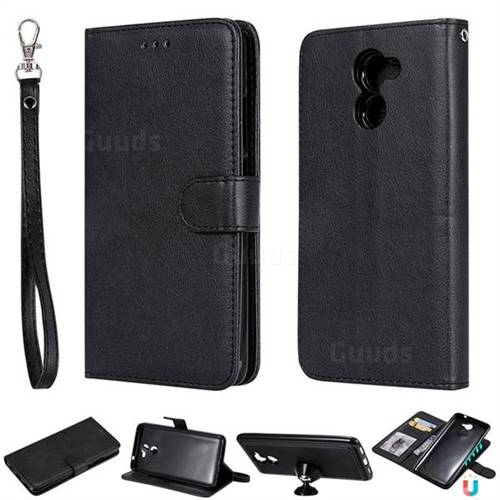 Retro Greek Detachable Magnetic PU Leather Wallet Phone Case for Huawei Y7(2017) - Black