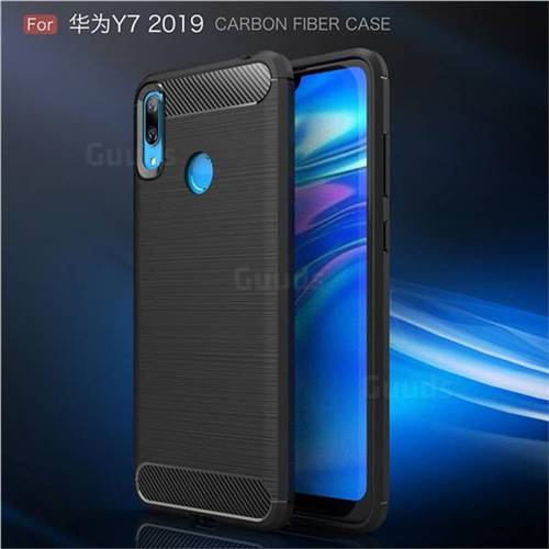 Luxury Carbon Fiber Brushed Wire Drawing Silicone TPU Back Cover for Huawei  Y7(2019) / Y7 Prime(2019) / Y7 Pro(2019) - Black